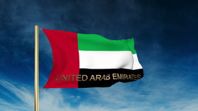 United Arab Emirates flag slider style with title. Waving with cloud background animation stock video