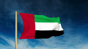United Arab Emirates flag slider style. Waving in. United Arab Emirates flag slider style. Waving with cloud background animation stock video