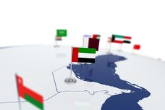 United Arab Emirates flag. Country flag with chrome flagpole on the world map with neighbors countries borders. 3d illustration rendering flag Royalty Free Stock Images