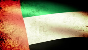 United Arab Emirates Flag Waving, grunge look stock video