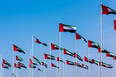 United Arab Emirates flags winding in the wind against blue sky. Many United Arab Emirates flags winding in the wind against blue sky royalty free stock photography