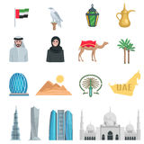 United Arab Emirates Flat Icons. With symbols of state and cultural objects isolated vector illustration stock illustration