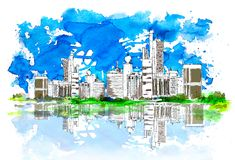 United Arab Emirates, fondo artístico del bosquejo libre illustration