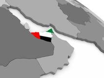 United Arab Emirates on globe with flag Royalty Free Stock Photography