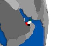 United Arab Emirates on globe with flag Royalty Free Stock Image