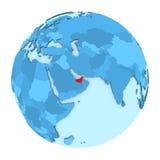 United Arab Emirates on globe isolated Royalty Free Stock Photo