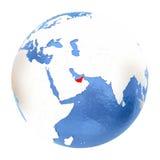 United Arab Emirates on globe isolated on white Stock Images