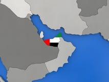 United Arab Emirates on globe Stock Photography