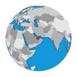 United Arab Emirates on globe Stock Image