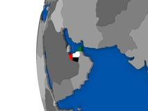 United Arab Emirates on globe Royalty Free Stock Images