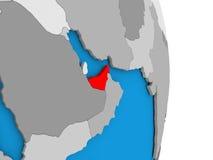United Arab Emirates on globe Royalty Free Stock Photography