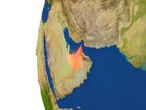 United Arab Emirates on globe Royalty Free Stock Image