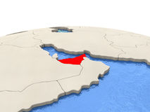 United Arab Emirates on globe with watery seas Royalty Free Stock Photos