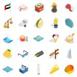 United Arab Emirates icons set, isometric style. United Arab Emirates icons set. Isometric set of 25 united arab emirates vector icons for web isolated on white Stock Photos