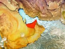 United Arab Emirates on illustrated globe Stock Photo