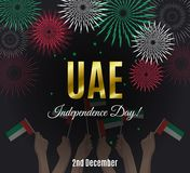 United Arab Emirates Independence Day placard with fireworks Royalty Free Stock Photography