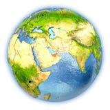 United Arab Emirates on isolated globe Royalty Free Stock Image