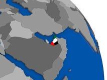 United Arab Emirates and its flag on globe Stock Photo