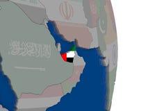 United Arab Emirates with its flag Royalty Free Stock Photo