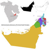 United Arab Emirates map. Administrative division of the United Arab Emirates royalty free illustration