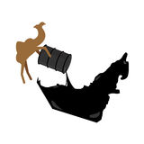 United Arab Emirates map. Camel pours oil from  barrel to UAE  m Stock Photo