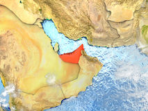 United Arab Emirates on map with clouds Stock Photo
