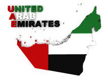 United Arab Emirates, map & flag, clipping path. UAE, United Arab Emirates, map with flag, clipping path included, isolated on white, 3d illustration Royalty Free Stock Image