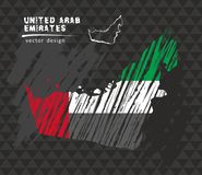 United Arab Emirates map with flag inside on the black background. Chalk sketch vector illustration. Vector sketch map of United Arab Emirates with flag, hand royalty free illustration
