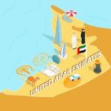 United Arab Emirates map, isometric 3d style Stock Images
