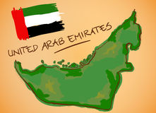 United Arab Emirates Map and National Flag Vector. Digital Painting stock illustration