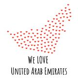 United Arab Emirates Map with red hearts - symbol of love. abstract background. United Arab Emirates Map with red hearts- symbol of love. abstract background Stock Photo