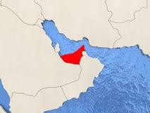 United Arab Emirates on map Stock Images