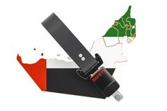 United Arab Emirates map with safety belt. Security and protect Stock Image