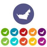 United Arab Emirates map set icons Stock Images