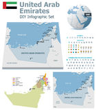 United Arab Emirates maps with markers Royalty Free Stock Photography