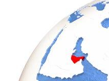 United Arab Emirates on metallic globe with blue oceans Royalty Free Stock Photo
