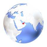 United Arab Emirates on metallic globe isolated. Map of United Arab Emirates on metallic globe. 3D illustration isolated on white background Stock Photos