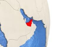 United Arab Emirates on model of political globe Royalty Free Stock Photo