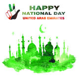 United arab emirates national day. Watercolor hand drawn illustration. Hand on the background of the flag of Arab Emirates. Text `Happy National Day` , ` stock illustration
