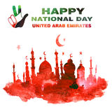 United arab emirates national day. Watercolor hand drawn illustration. Hand on the background of the flag of Arab Emirates. Text `Happy National Day` , ` royalty free illustration