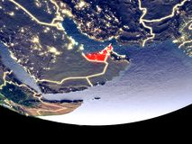 United Arab Emirates at night from space. Satellite view of United Arab Emirates from space at night. Beautifully detailed plastic planet surface with visible stock image