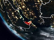 United Arab Emirates at night from space. With visible country borders. 3D illustration. Elements of this image furnished by NASA Royalty Free Illustration