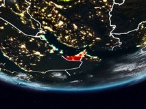 United Arab Emirates during night. United Arab Emirates on Earth at night with visible country borders. 3D illustration. Elements of this image furnished by NASA Royalty Free Stock Photos