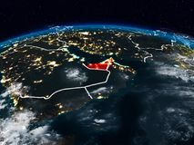 United Arab Emirates at night. United Arab Emirates from space at night on Earth with visible country borders. 3D illustration. Elements of this image furnished stock photography
