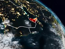 United Arab Emirates at night. United Arab Emirates from space at night with visible country borders. 3D illustration. Elements of this image furnished by NASA Stock Illustration