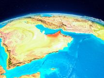 United Arab Emirates from orbit. Satellite view of United Arab Emirates highlighted in red on planet Earth. 3D illustration. Elements of this image furnished by Royalty Free Stock Photo