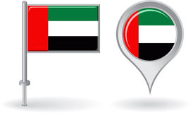United Arab Emirates pin icon and map pointer flag Royalty Free Stock Images