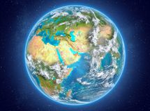 United Arab Emirates on planet Earth in space. United Arab Emirates in red on model of planet Earth with clouds and atmosphere in space. 3D illustration Royalty Free Stock Photo