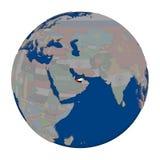 United Arab Emirates on political globe Stock Image