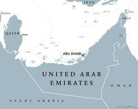 United Arab Emirates political map Royalty Free Stock Photo